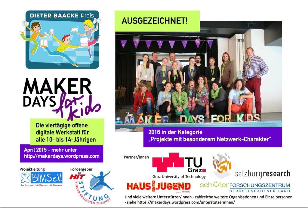 Maker Days for Kids mit dem Dieter Baacke Preis 2016 ausgezeichnet
